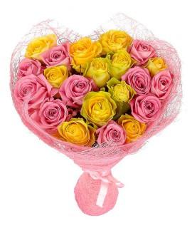 21 розовая и желтая роза